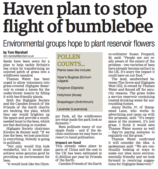 Ham and High 'Haven plan to stop flight of the bumblebee'