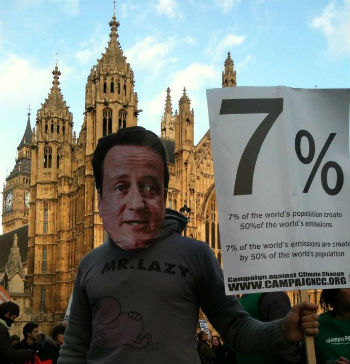 'David Cameron' joins us on outside Parliament on the Climate Justice Rally