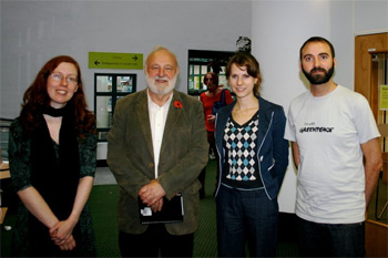 Members of Camden Friends of the Earth and Camden Greenpeace with Frank Dobson MP for the Big Climate Connection lobby